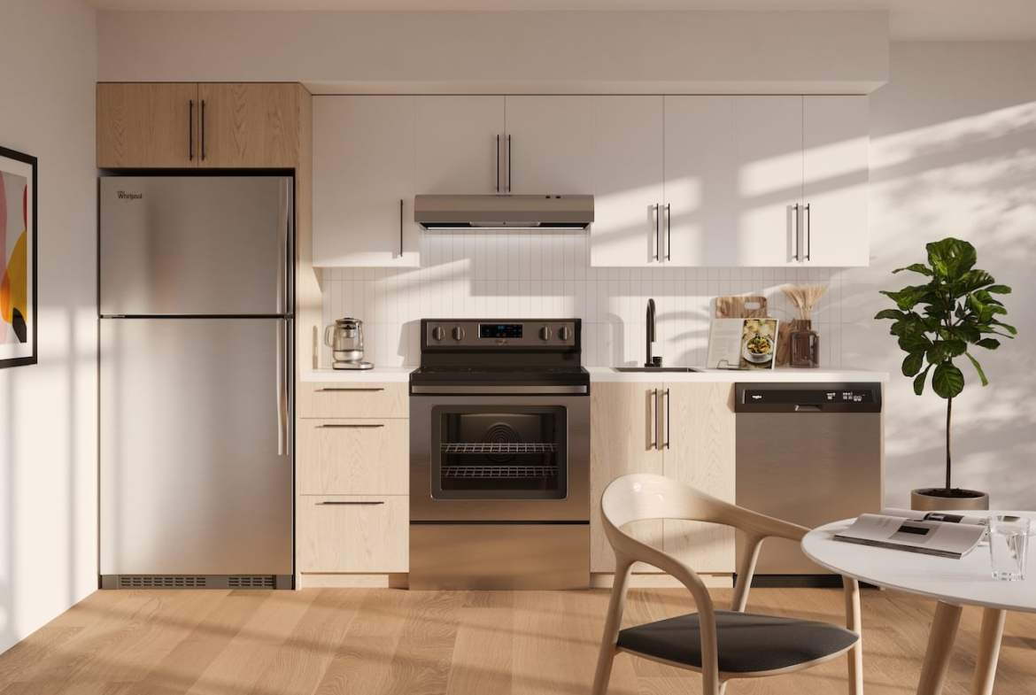 Rendering of Realm Condos suite kitchen light standard