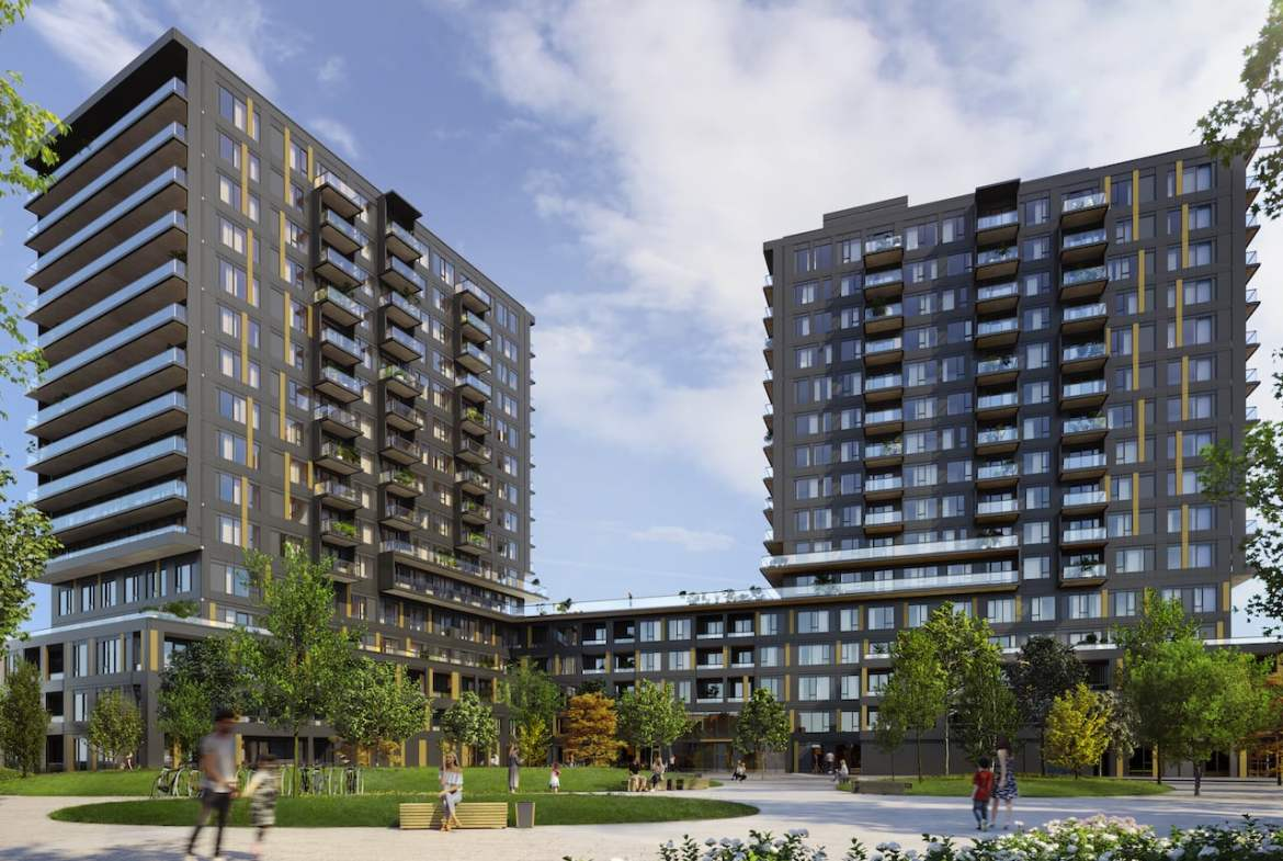 Realm Condos 2 towers and podium
