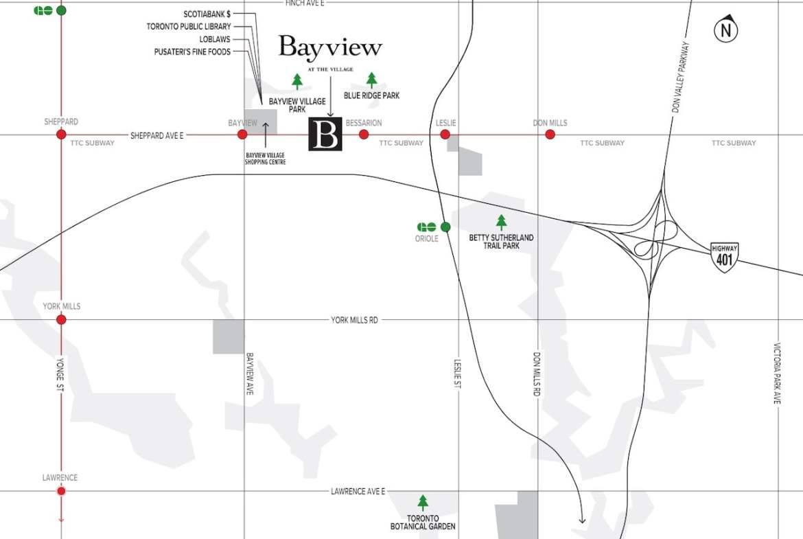 Map of Bayview at The Village in Toronto
