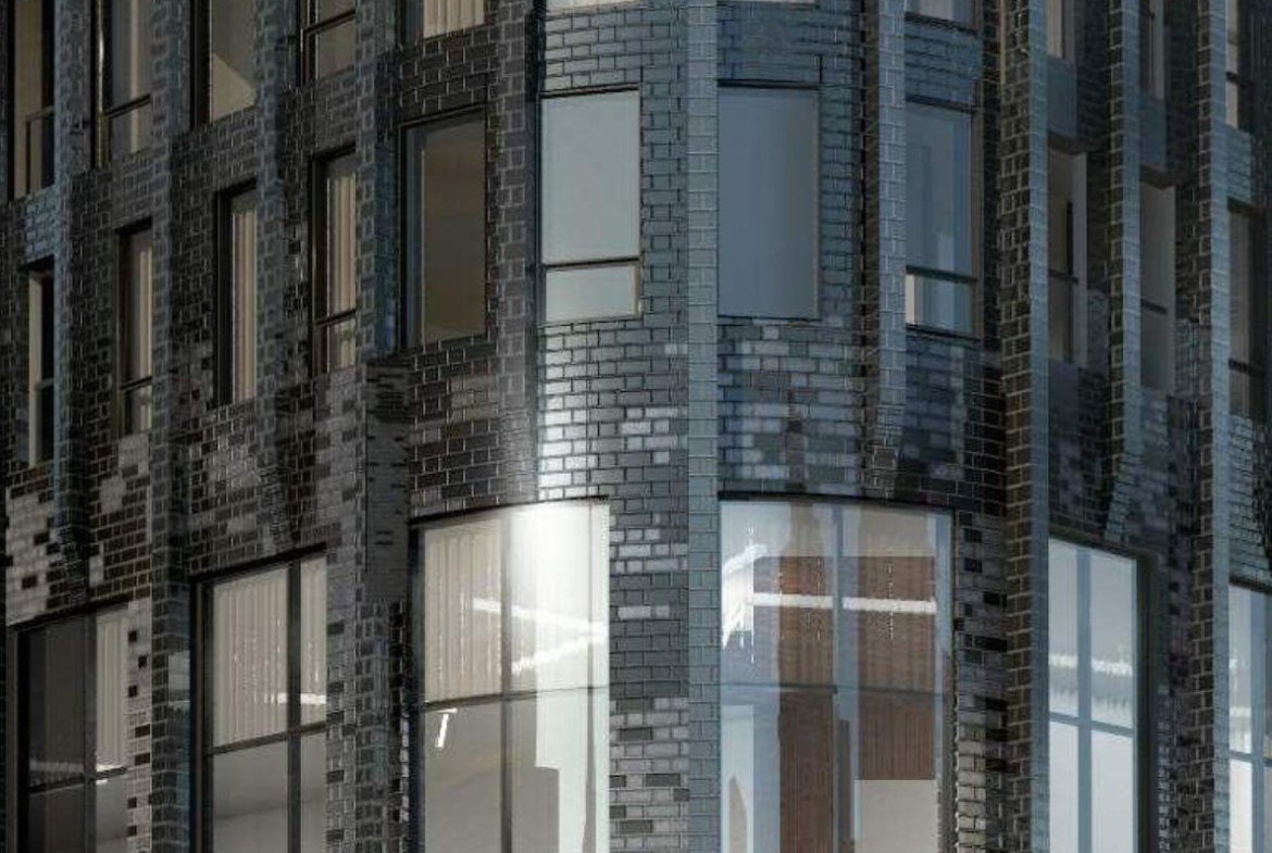 Exterior rendering of 120 Church Condos siding with metallic finishes