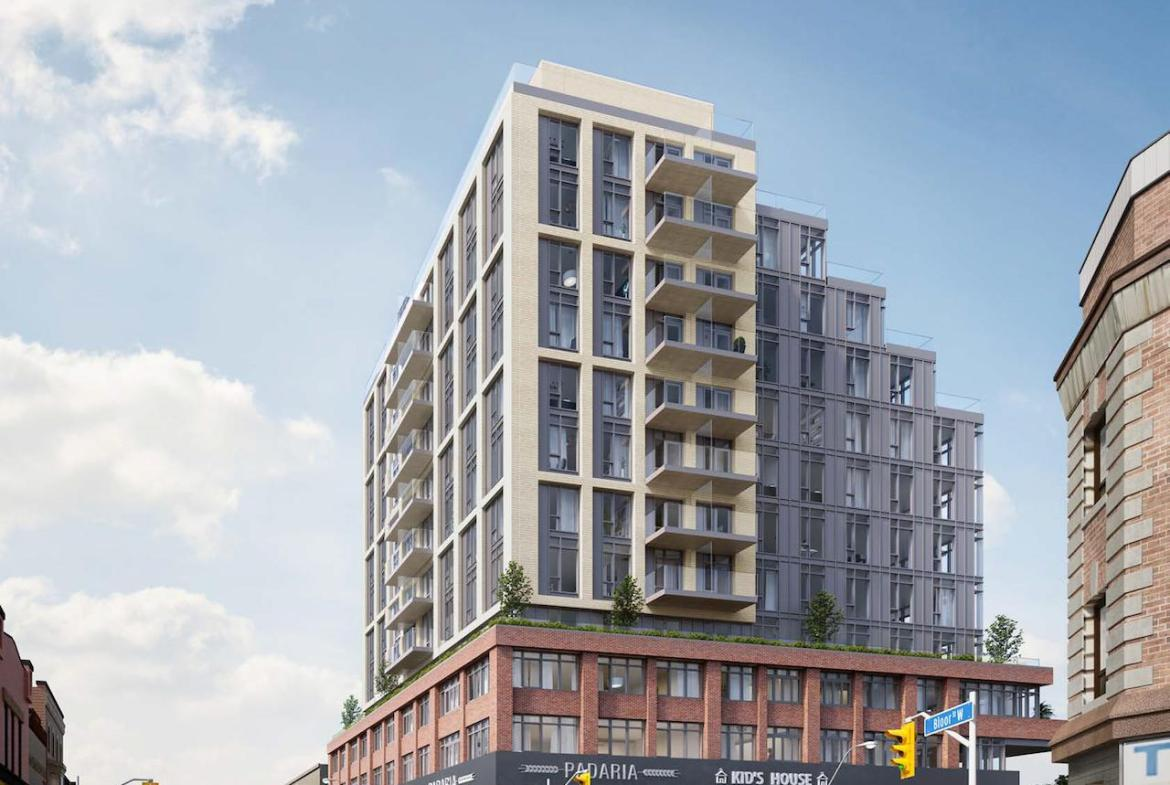 Exterior full view rendering of 990 Bloor West Condos