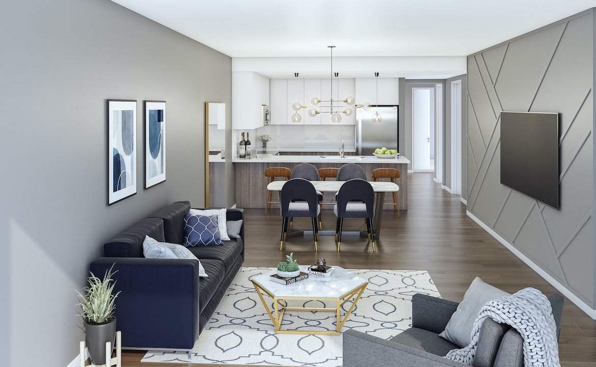 Rendering of The Crawford Urban Towns suite Willmott interior