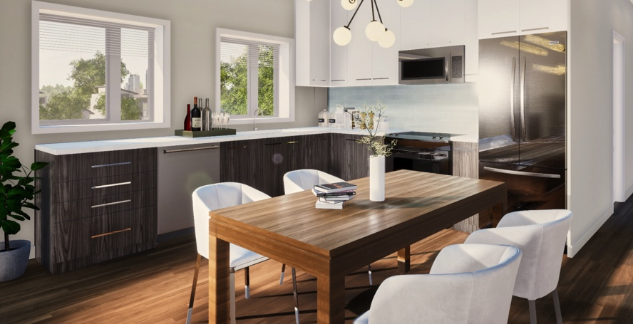 Rendering of Victoria Garden suite interior kitchen