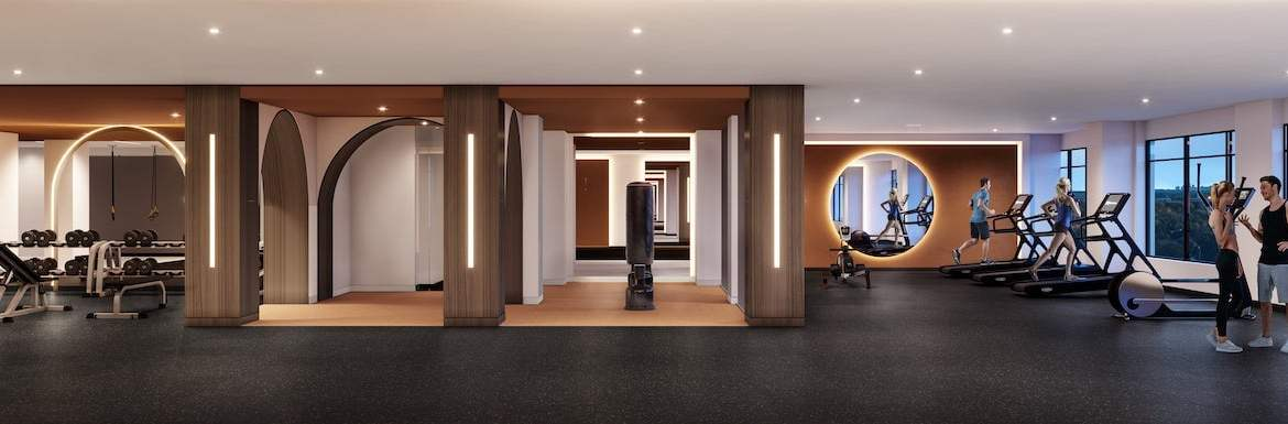 Rendering of House of Assembly Condos fitness room