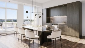 The Dupont Condos suite kitchen with dining