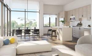 Rendering of Charing Cross Condos kitchen and dining