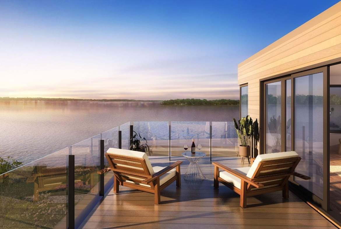 Rendering of Fenelon Lakes Club waterfront view from balcony