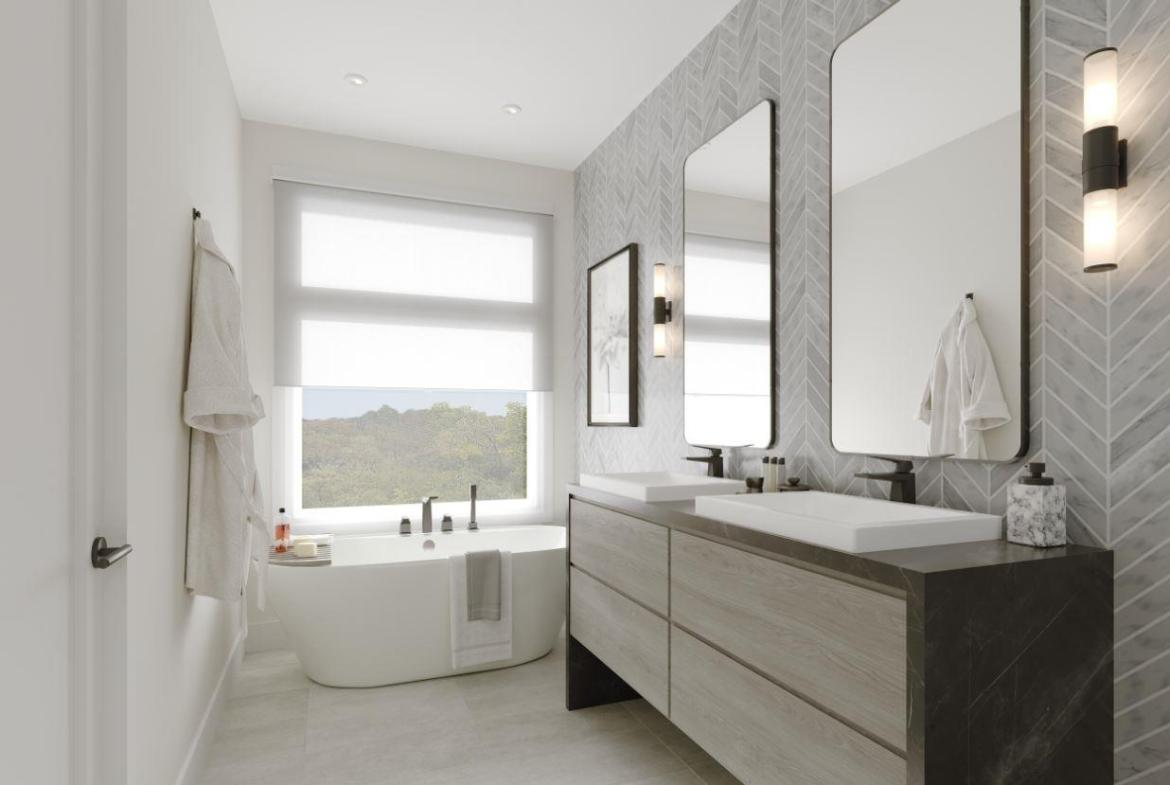 Rendering of Lookout On The Knoll Towns The Reserve Collection interior bathroom with large tub