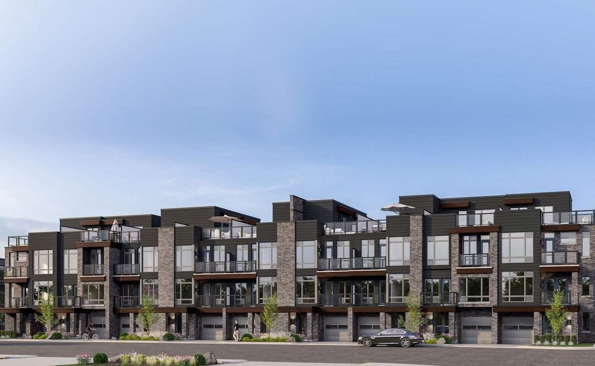 Rendering of Orillia Fresh Towns exterior townhomes