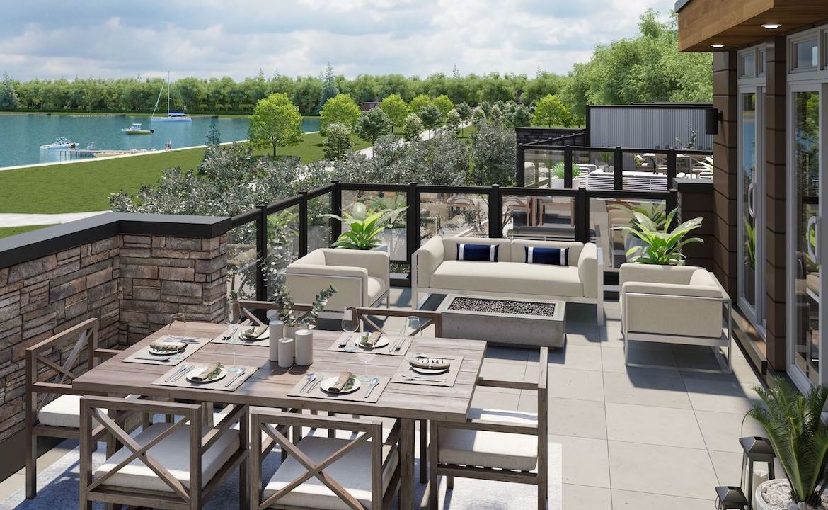 Rendering of Orillia Fresh Towns suite terrace day