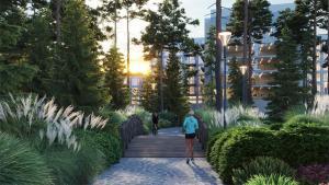 Outdoor path rendering of Twin Regency Condos