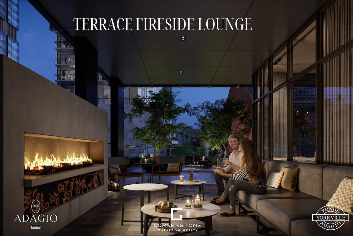 Rendering of Adagio Condos terrace with fireside lounge