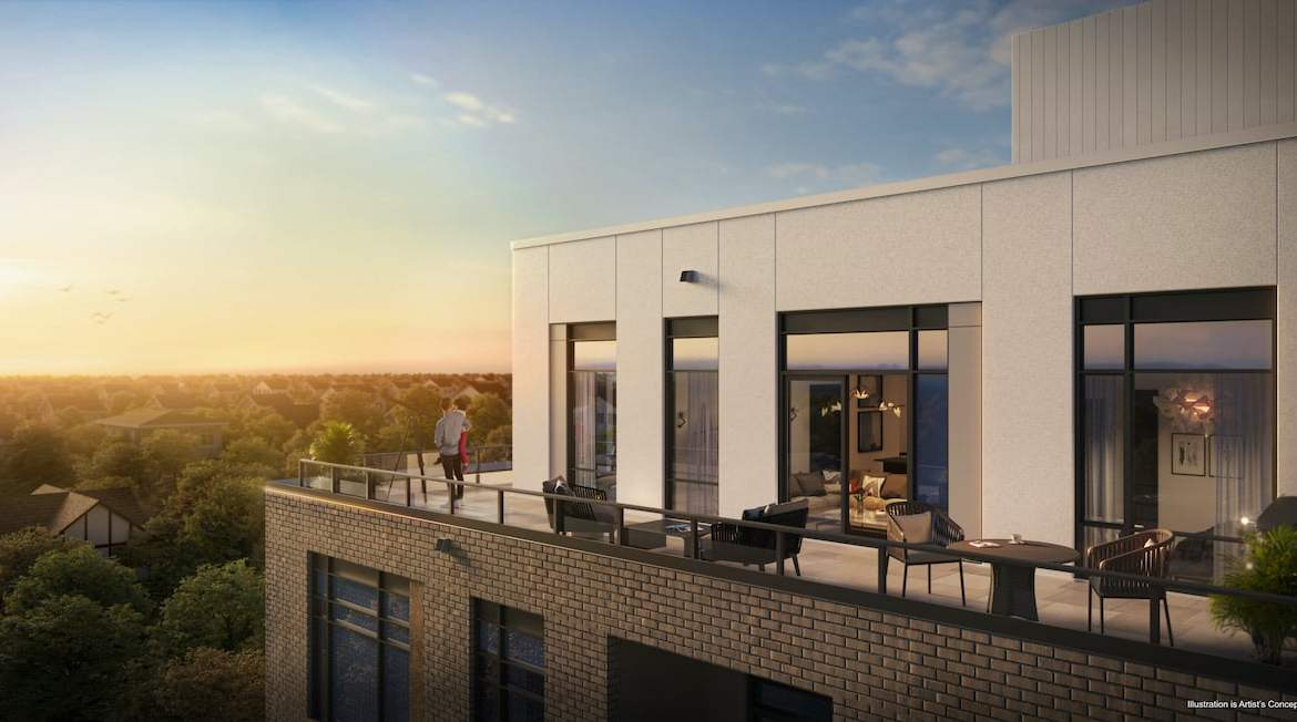 Rendering of Boulevard at the Thornhill suite terrace exterior