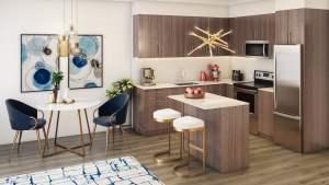 Rendering of LakeVu Two suite interior 1 bedroom kitchen