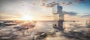 Rendering of Waldorf Astoria exterior in the clouds