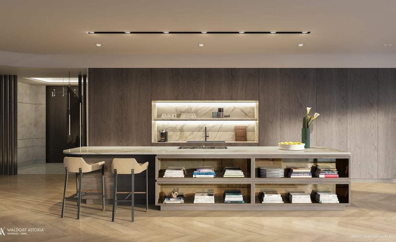 Rendering of Waldorf Astoria kitchen