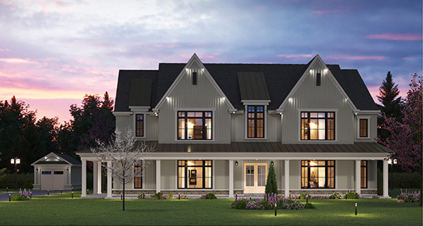 Exterior rendering of Eagles' Rest Estates at night