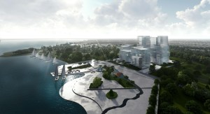 Aerial rendering of Nahid Harbour during the day