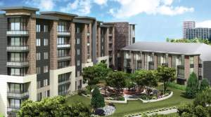Rendering of SweetLife Condos and Towns exterior courtyard