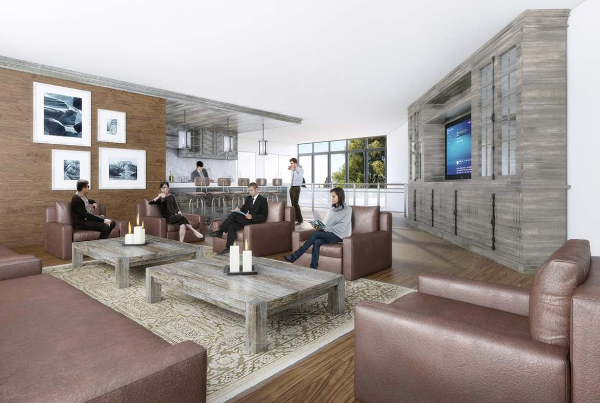 Rendering of SweetLife Condos and Towns party room
