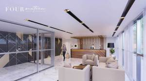 Rendering of Four Sixteen Whitby Condos lobby with concierge