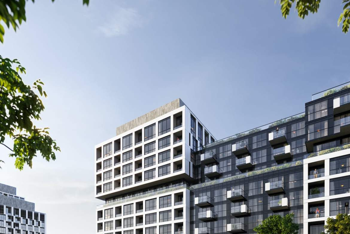 Rendering of Verge Condos exterior in the morning