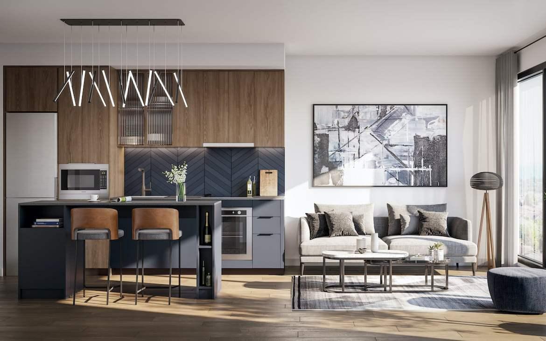 Rendering of Verge Condos suite kitchen