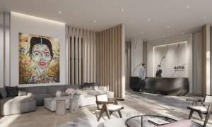Rendering of Arte Condos lobby
