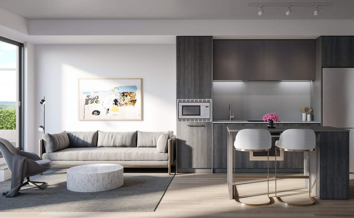 Rendering of Arte Residences kitchen and living with island ombre