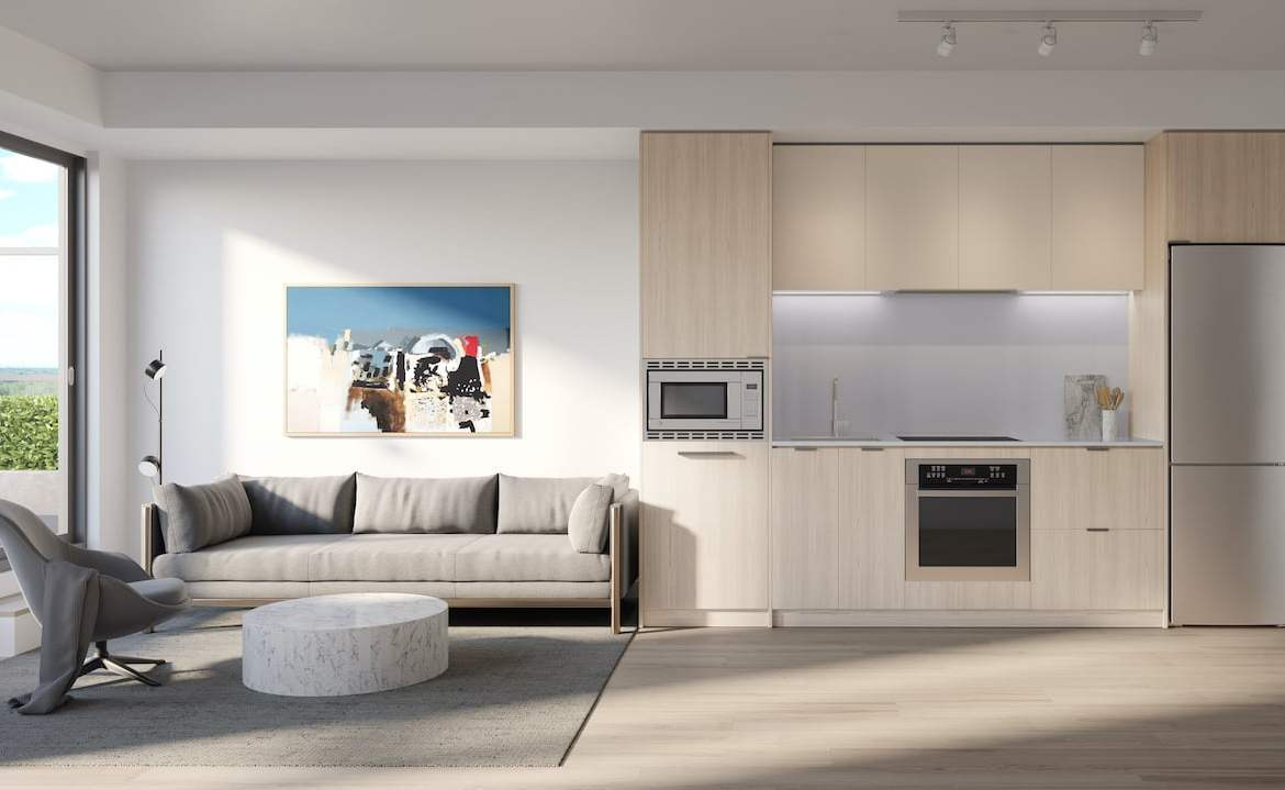 Rendering of Arte Residences kitchen and living without island neige
