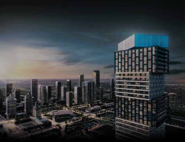 Rendering of Exchange District 3 Condos exterior with view of Mississauga skyline