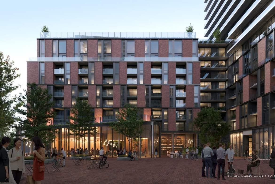 Rendering of The GOODE Condos exterior courtyard in the evening