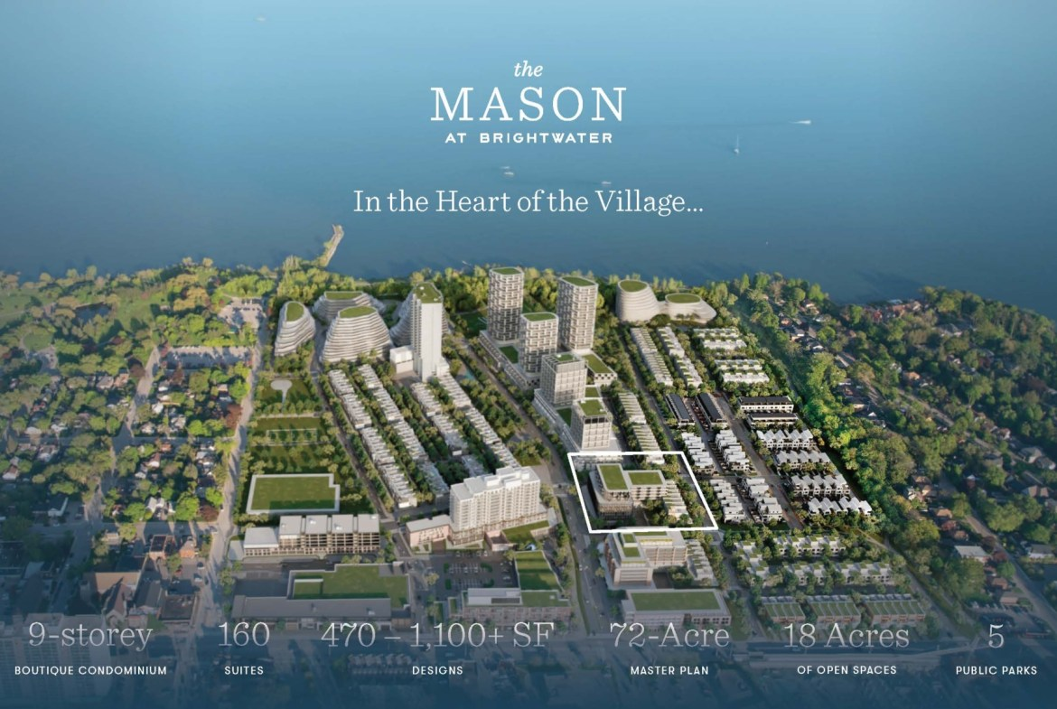 Rendering The Mason Condos at Brightwater project facts
