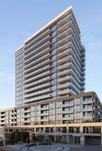 Rendering of The Millhouse Condos exterior in full