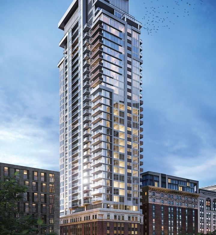Rendering of The Moderne Condos exterior full view
