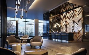 Rendering of The Moderne Condos lounge