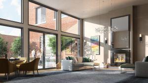 Rendering of The Walton Residences interior lounge