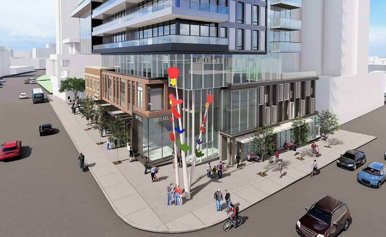 Rendering of 148 Avenue Condos exterior corner intersection in Toronto