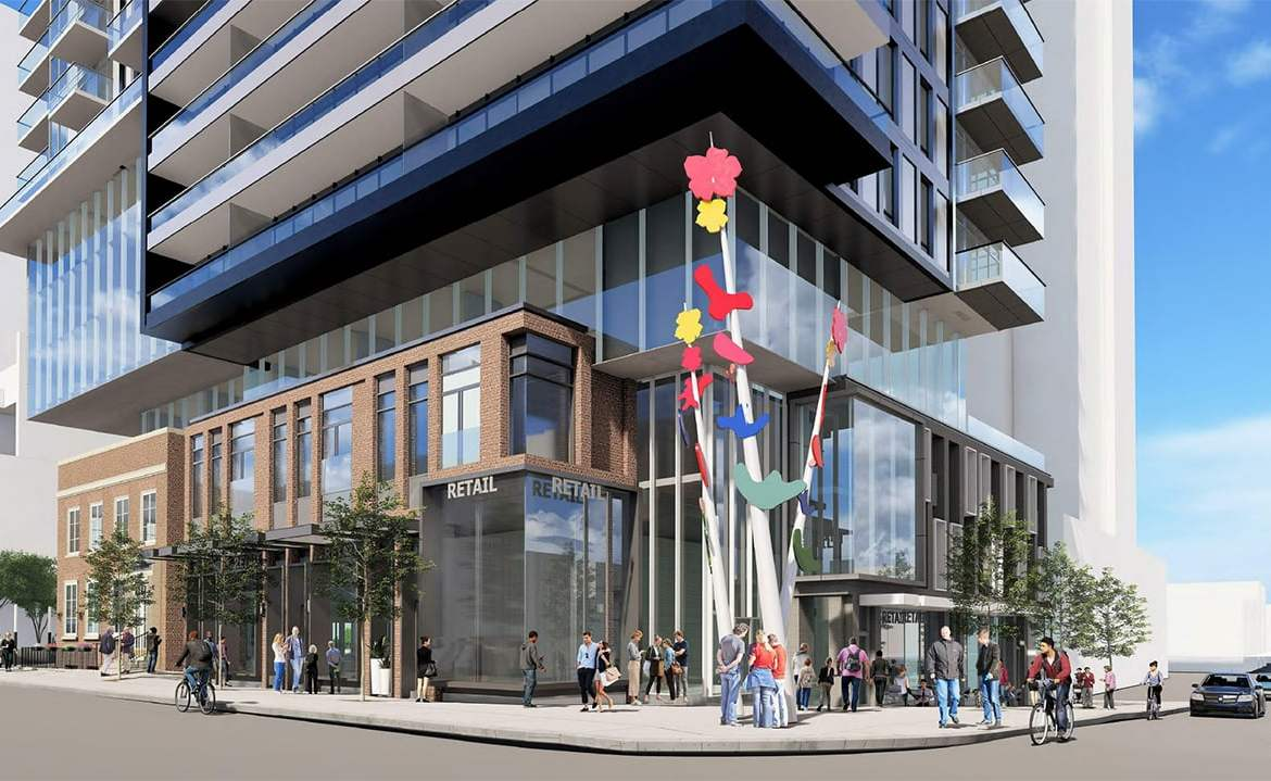 Rendering of 148 Avenue Condos exterior and streetview