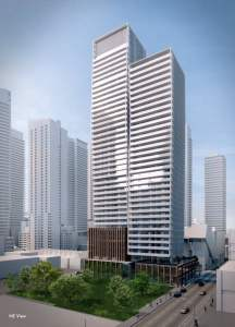 Rendering of 241 Richmond Condos exterior full view during the day