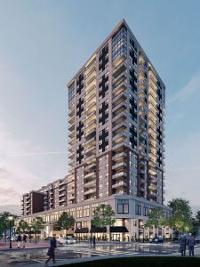 Rendering of The Residences On Owen exterior at dusk