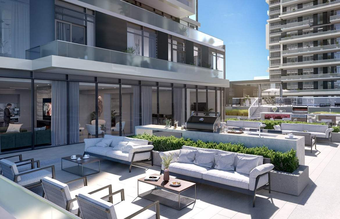 Rendering of M2M Squared Condos bbq lounge