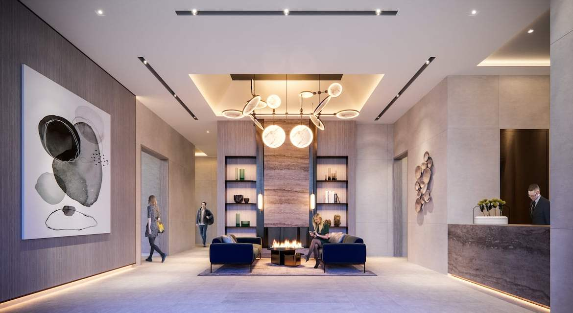 Rendering of M2M Squared Condos lobby