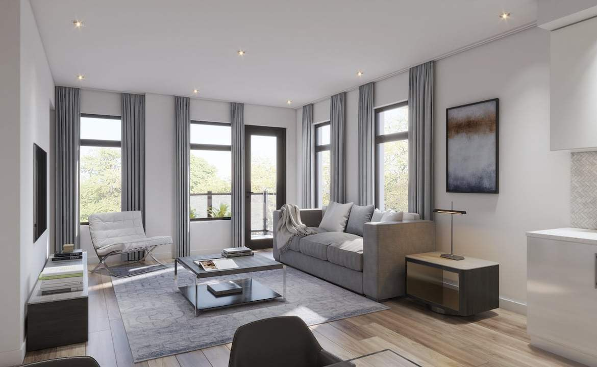 Rendering of Central District Towns suite interior living room