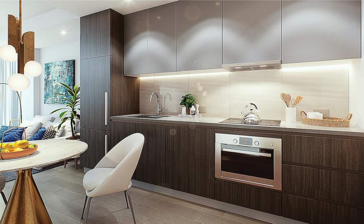 Rendering of Le Sherbrooke Condos suite interior kitchen