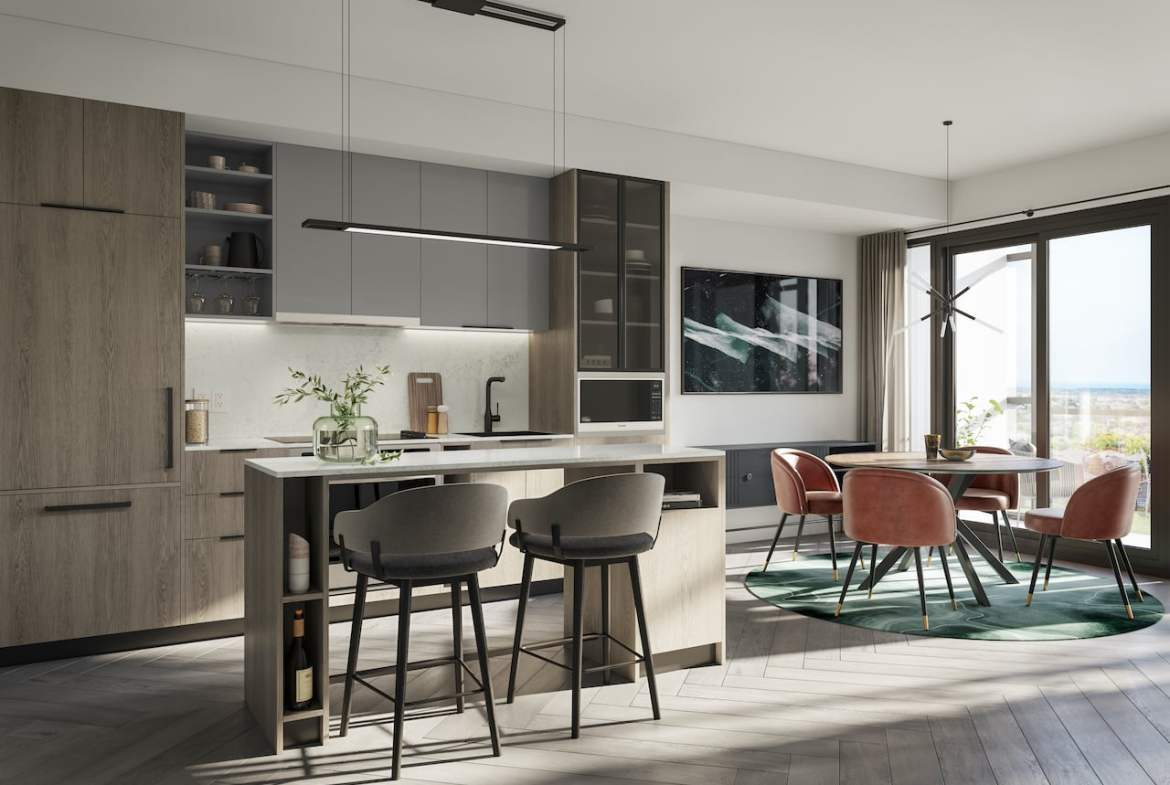 Rendering of Verge 2 Condos interior suite with upgraded finishes