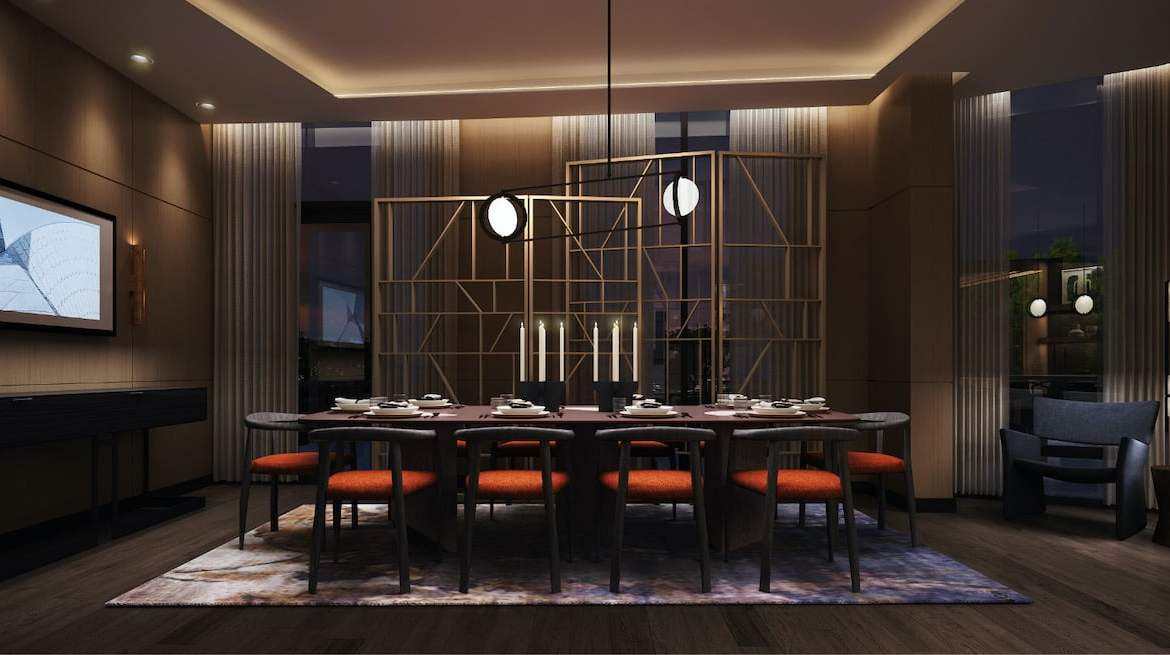 Rendering of Westerly Condos dining room with large table