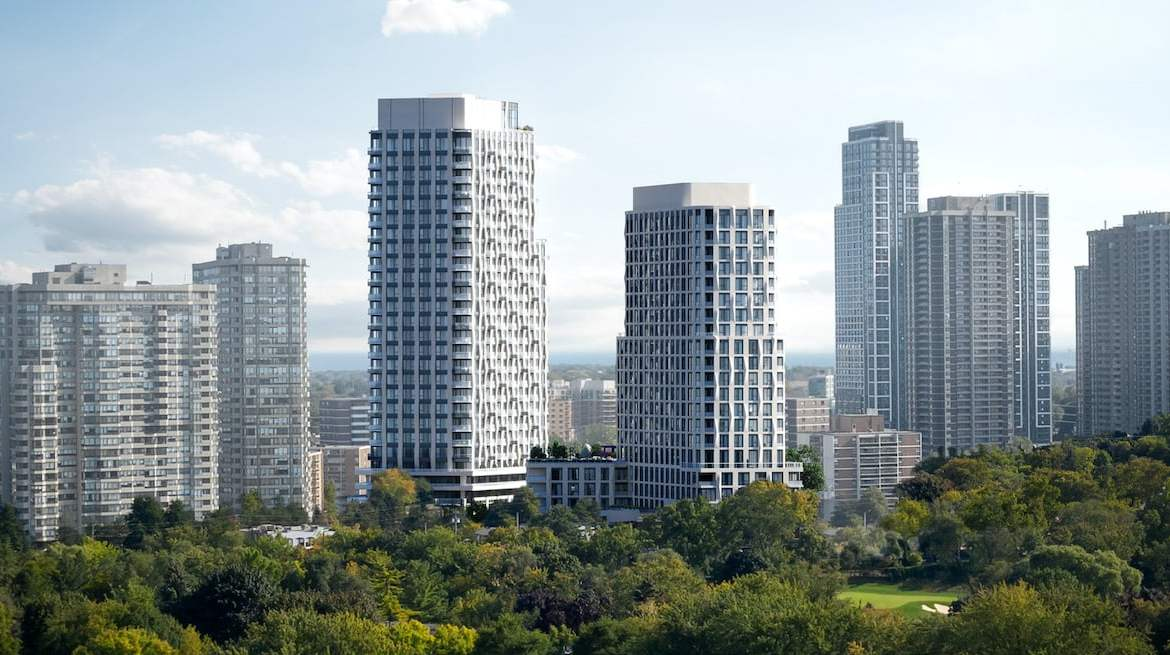Rendering of Westerly Condos exterior towers in Toronto