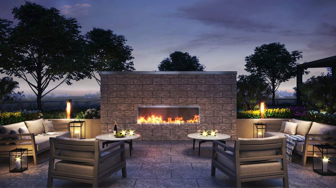Rendering of Westerly Condos outdoor fireplace at night