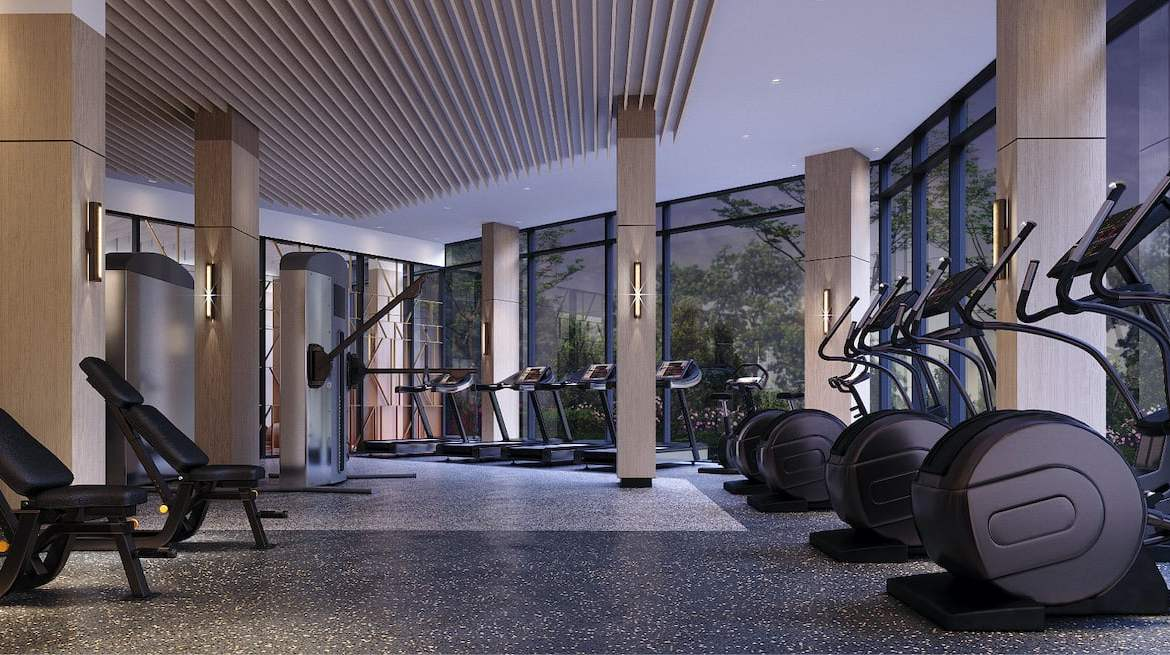 Rendering of Westerly Condos fitness centre in the evening
